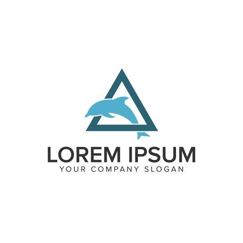 Plantilla de concepto de diseño de logotipo de delfín