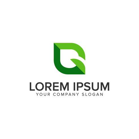 green leaf letter G logo design concept template vector
