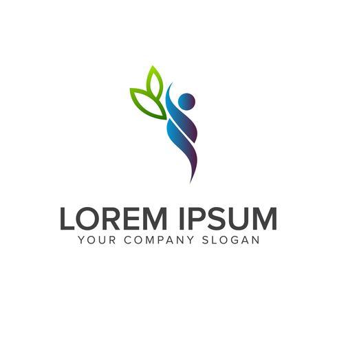 people leaf logo design concept template vector