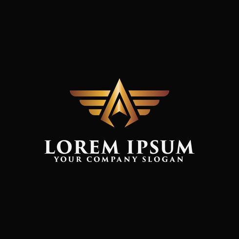 Lettre A modèle de concept de design logo ailes de luxe