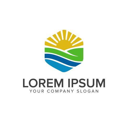 Natural leaf logo. Garden Landscaping logo design concept template