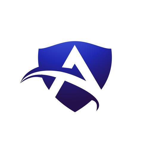lettre Un modèle de concept de design logo bouclier