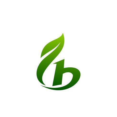 modelo de conceito de design de logotipo letra b folha