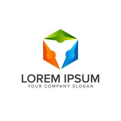 persone logo Business e Consulting. comunicazione di squadra