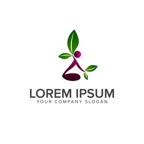 Menschen Blatt Logo-Design-Konzept-Vorlage