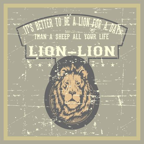 lion de style grunge vintage avec main citation dessin vectoriel