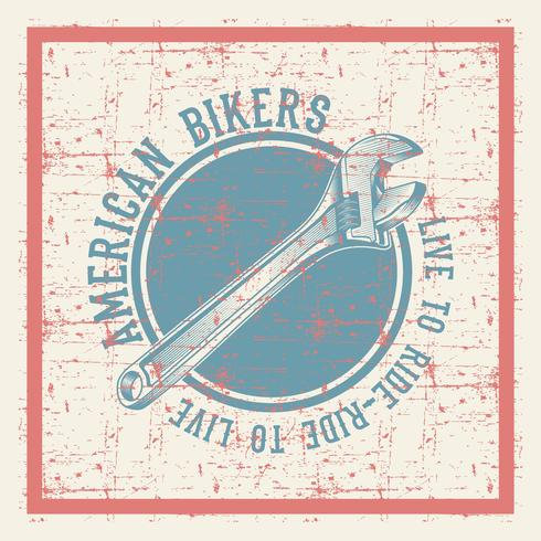 vintage grunge style wrench with text american bikers vector