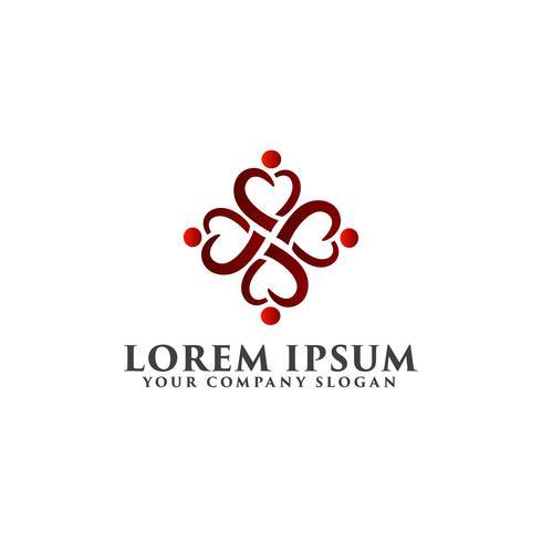 love heart people logo design concept template