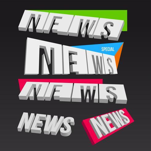 Elementos de noticias coloridas 3D sobre fondo oscuro