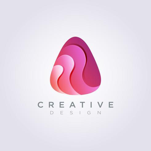 Moderno decorativo triángulo redondo Vector ilustración Diseño Clipart símbolo Logo plantilla