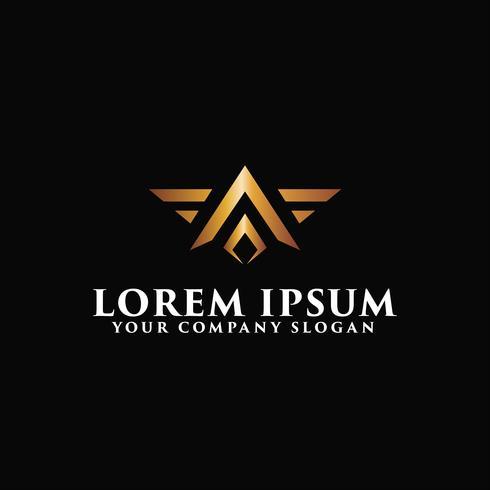 Letter A luxe vleugels logo ontwerpsjabloon concept