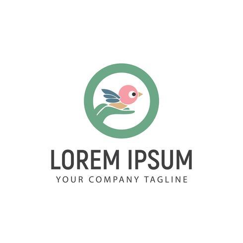 Halten der Vogel-Logo-Design-Konzept-Vorlage