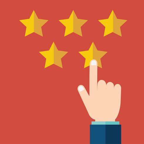 Customer rating, feedback, star rating, quality work. Businessman pointing on a gold star in hand, to give five. Evaluation system