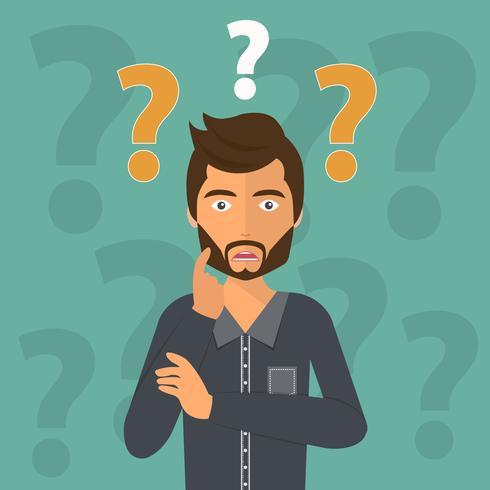 Pensando en el hombre de negocios rodeado de signos de interrogación.
