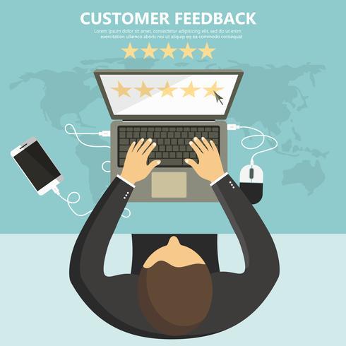 Beoordeling op klantenservice illustratie. Website rating feedback en beoordeling concept