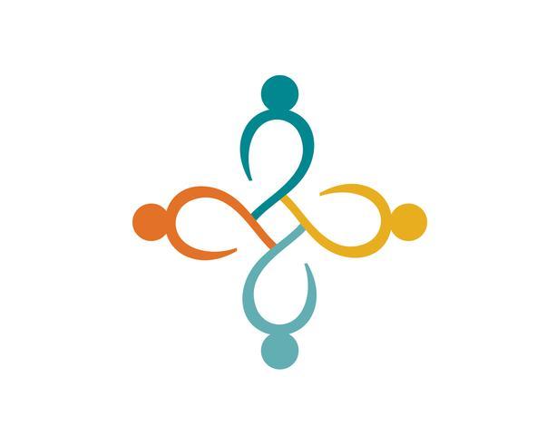 Plantilla de logotipo y símbolos para personas de la comunidad vector