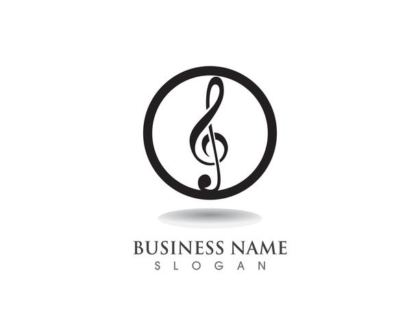 Modelo de logotipo e ícones de símbolo de nota de música