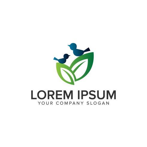 Paar Blatt und Vogel Logo-Design-Konzept-Vorlage