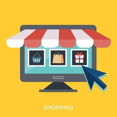 Tienda de iconos online, diseño plano de iconos de negocios