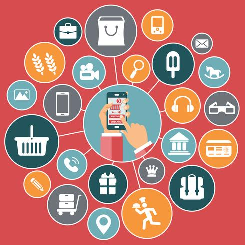 Icons for mobile commerce, shopping on line and digital marketing