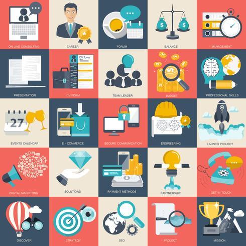Set di icone di affari, tecnologia e finanze per siti Web e applicazioni e servizi mobili. Illustrazione vettoriale piatto