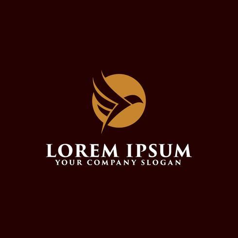 modelo de conceito de design de logotipo de pássaro voador de luxo