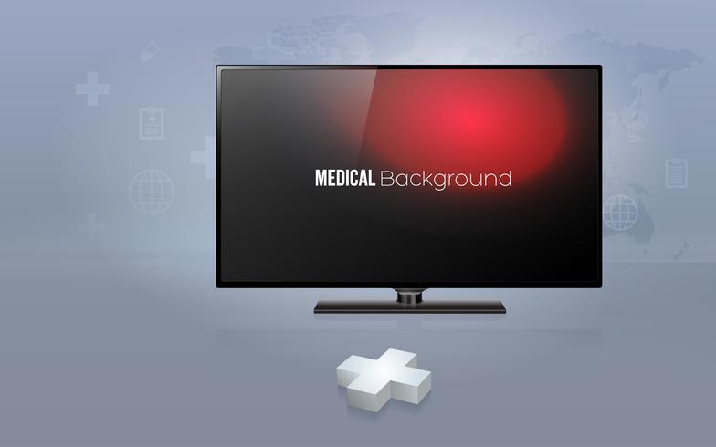 Segno 3D plus con TV a schermo piatto moderno con sfondo di assistenza sanitaria