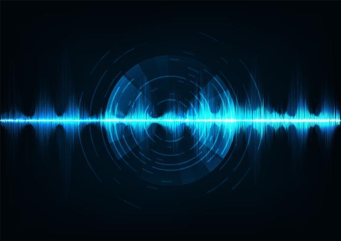 Onde sonore di musica blu. Tecnologia audio, impulso musicale.