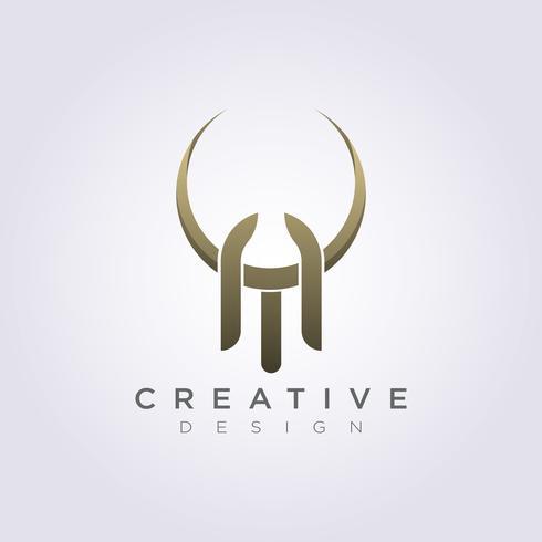 Letter TA dier hoorn abstracte vector illustratie ontwerp Clipart symbool Logo sjabloon