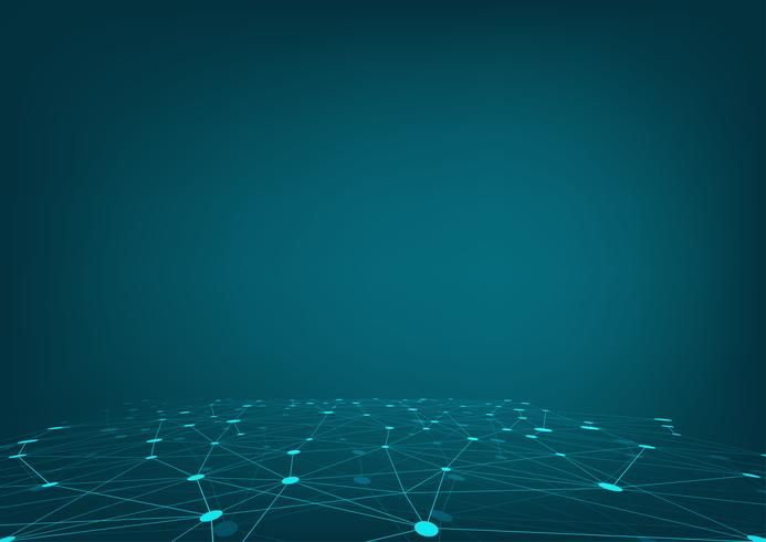 Futuristic network shape. Polygonal space low poly blue background.