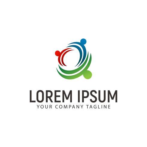 Plantilla de concepto de diseño de logotipo de socios de red de personas