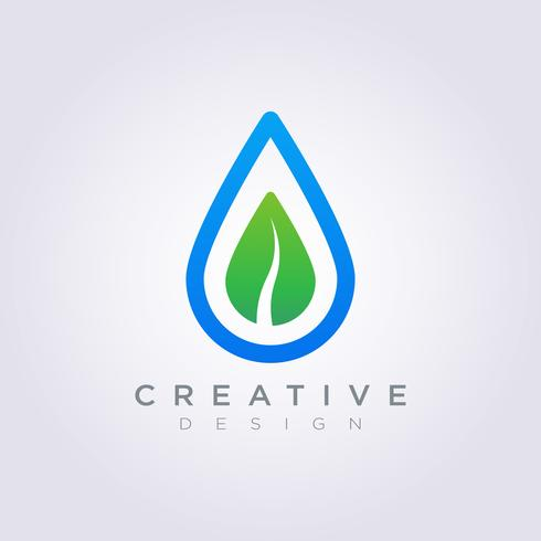 Feuille goutte d'eau Vector Illustration Design Clipart Logo Logo Template