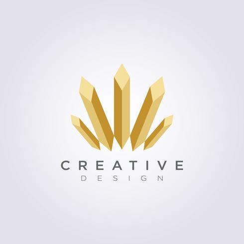 Stem Diamond Architecture Vector Design de ilustração Clip-Art símbolo logotipo modelo