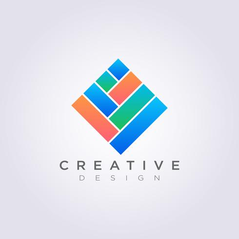 Rechteckiges Fliesenmuster-Quadrat-Vektor-Illustrations-Design Clipart-Symbol Logo Template