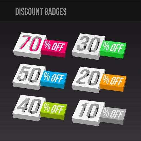 Emblemas de desconto 3D coloridos