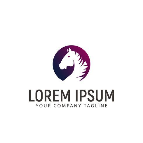 head circle horse logo design concept template