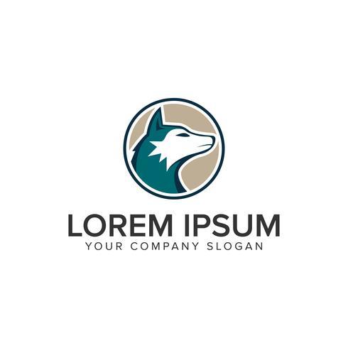 Plantilla de concepto de diseño de logotipo de lobo