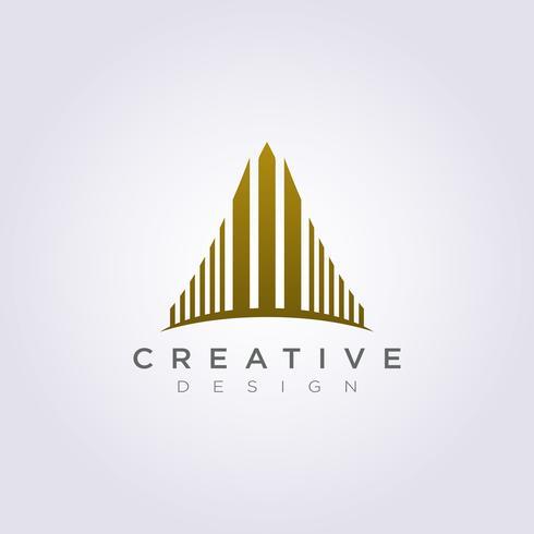 Edificio alto rascacielos Ilustración vectorial Diseño Clipart Símbolo Logo Plantilla vector