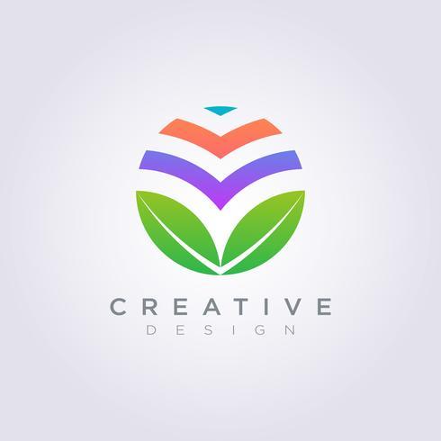 Leaf Circle Template Design Company Logo Vektor Symbol Ikon