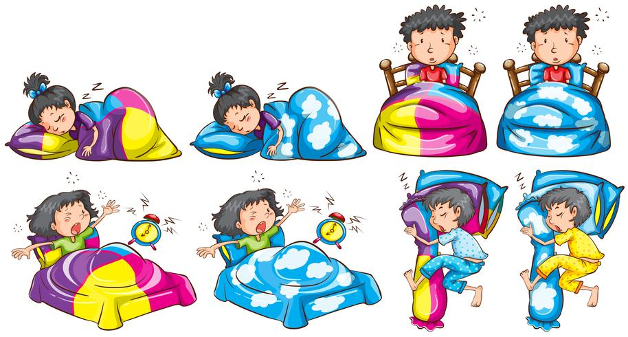 Hora de dormir para niño y niña. vector