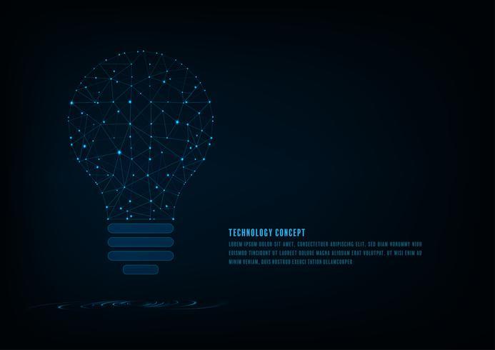 Conceito de tecnologia. Lâmpada de forma poligonal de uma inteligência artificial com linhas e pontos brilhantes e sombra sobre o fundo azul escuro.