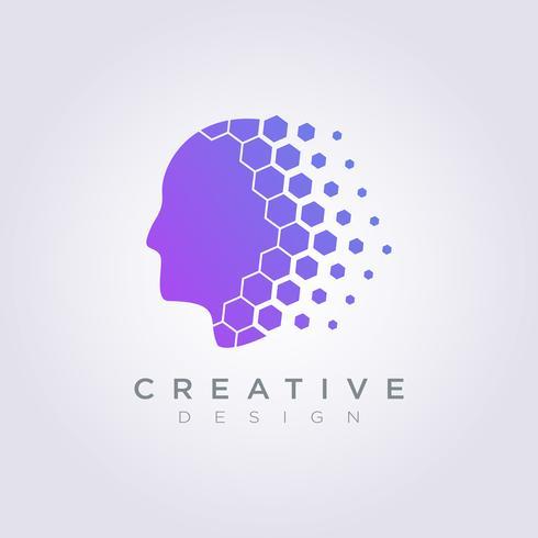 Cerveau numérique données modèle conception société Logo symbole vecteur icône