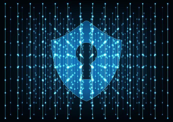 Conceito de segurança cibernética. Escudo com ícone do buraco da fechadura no fundo de dados digitais.