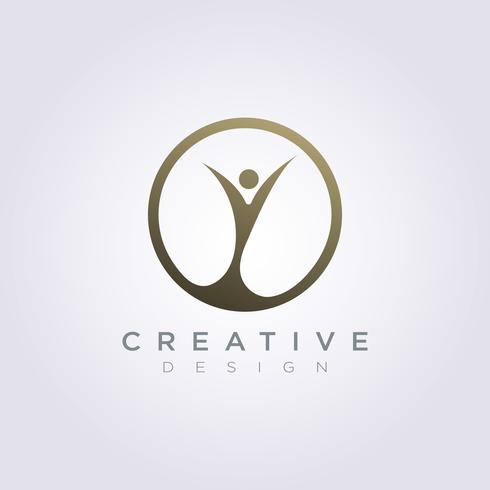 Gente feliz celebrar plantilla de diseño empresa Logo Vector símbolo icono