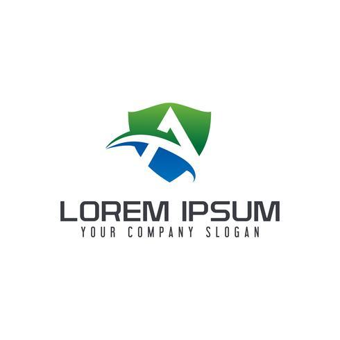 lettera Un modello di concetto di design logo scudo