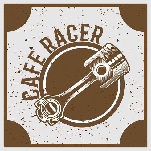 pistón de estilo grunge vintage con texto café racer, vector