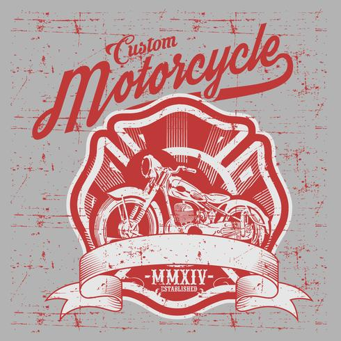 Motorcycle. Side view. Hand drawn classic chopper bike in engraving style. Vector color vintage illustration isolated