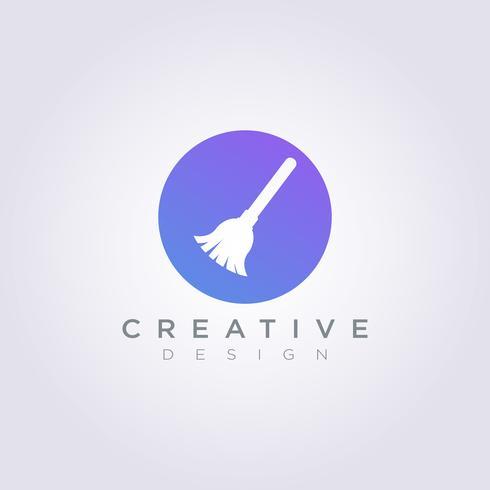 Broom Vector Illustration Design Clipart Symbol Logo Mall