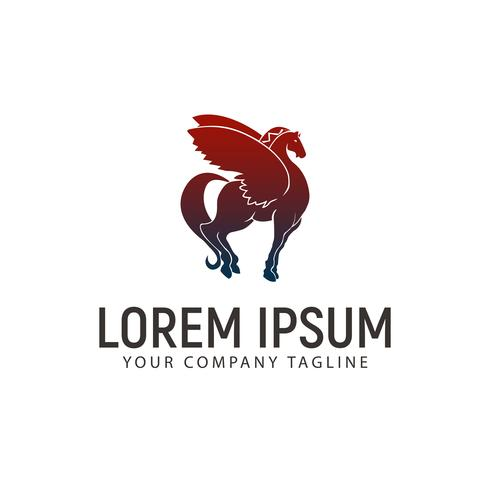winged horse logo design concept template vector