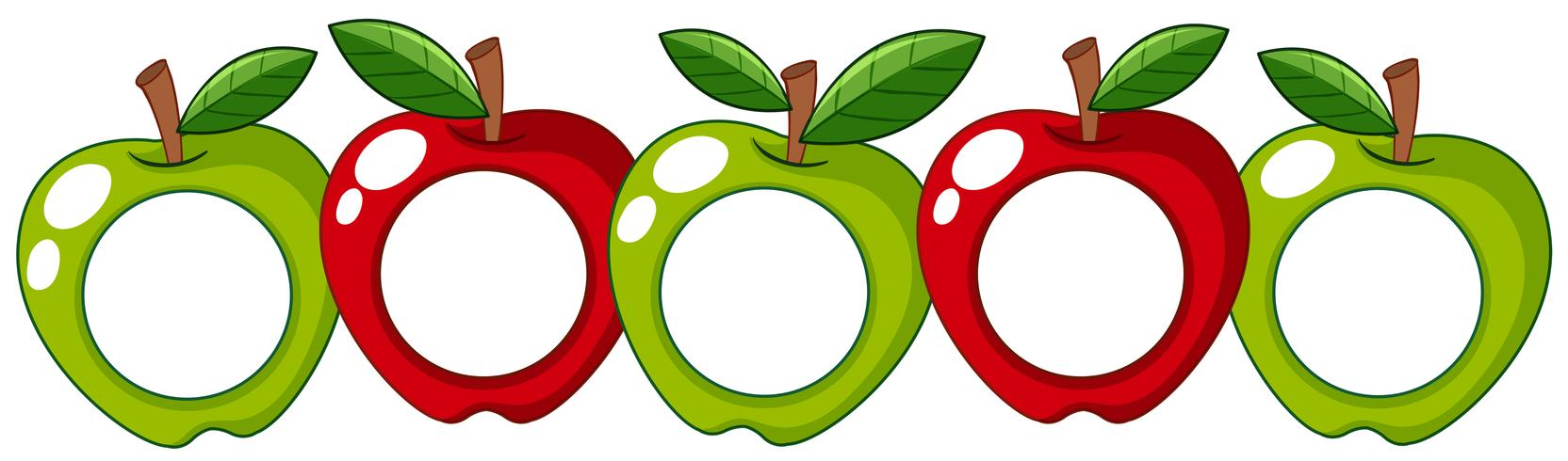 Manzanas rojas y verdes con placa blanca en